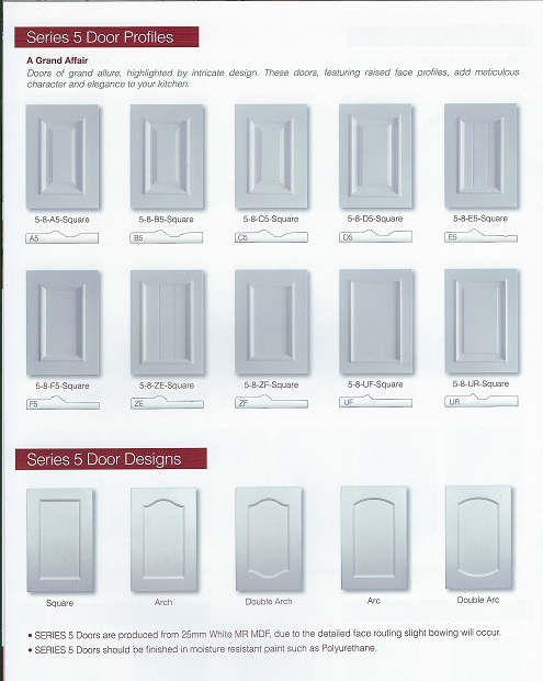 Image is of a variety of door shapes available.