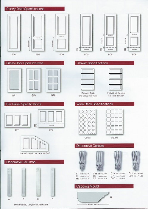 Image is of a variety of door shapes and other items available such as glass framed doors and wine racks and corbels.