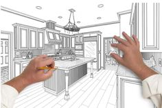 Kitchen designer is drawing up a new kitchen.
